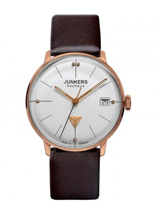 Junkers Bauhaus Lady Swiss Quartz watch 35mm R/Gold case 3ATM Silver dial 6075-1