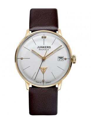 Junkers Bauhaus Lady Swiss Quartz watch 35mm Gold case 3ATM Silver dial 6075-4