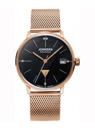 JUNKERS 'Bauhaus Lady' Swiss Quartz watch RGold case Black dial Bracelet 6075M-2