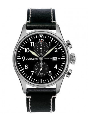 Junkers Cockpit JU52 Quartz watch 12 Hr Totalizer Chrono 42mm Black dial 6178-2