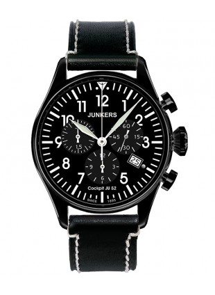 Junkers Cockpit JU52 Quartz Chrono watch 40mm Black PVD case Black dial 6182-2