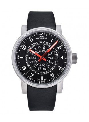 FORTIS SPACEMATIC CLASSIC BLACK/RED MENS AUTO WATCH EXPOSED