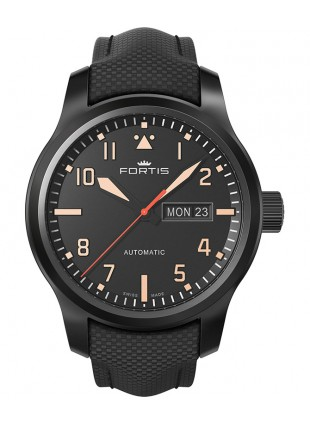Fortis AEROMASTER STEALTH Swiss auto day/date watch 42mm PVD case 655.18.18 LP