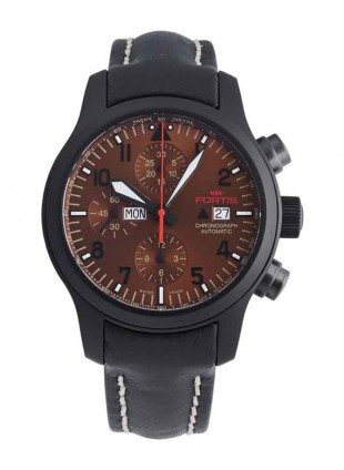 FORTIS AVIATIS AEROMASTER DUSK CHRONOGRAPH WATCH BLACK PVD CASE 656.18.98 L01