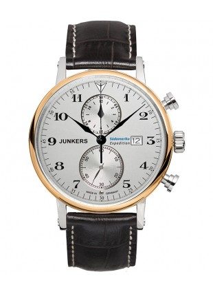 Junkers SOUTH AMERICA Swiss Quartz 41mm Chrono watch Gold bezel Silv dial 6586-5