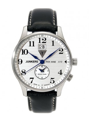 Junkers Iron Annie JU52 Quartz watch Big date Dual time 40mm White dial 6640-1
