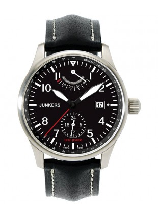 Hugo Junkers Auto watch Power reserve Exhibition back 42mm Black dial 6666-2