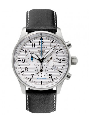HUGO JUNKERS Swiss quartz Chrono watch Black strap Silv. corrugated dial 6684-1