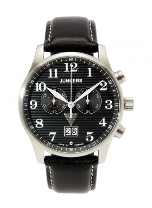 Junkers Iron Annie JU52 Quartz chrono watch Big date 42mm case Black Dial 6686-2