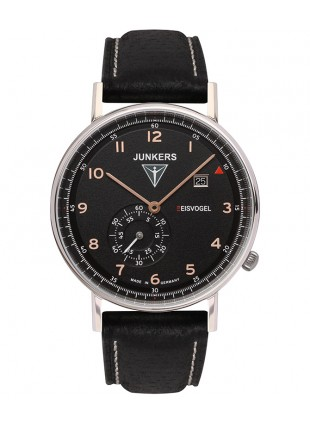 Junkers EISVOGEL F13 Swiss quartz watch 40mm S/Steel case Black dial 6730-5