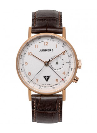 Junkers EISVOGEL F13 Swiss quartz watch 40mm RGold case 50m WR Beige dial 6736-4