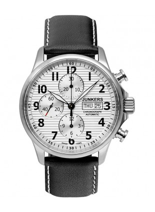 Junkers Tante Ju Auto Chronograph watch Valjoux 7750 42mm Silver Dial 6818-1