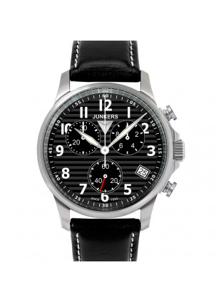 JUNKERS TANTE JU 6890-2 QUARTZ WATCH SWISS ETA MOVEMENT 100M WR BLACK DIAL