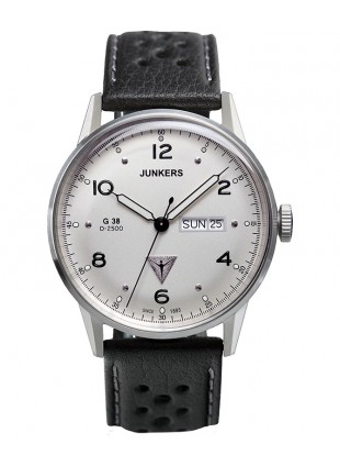 Junkers G38 Quartz watch Weekday indicator 10ATM 42mm case Silver Dial 6944-1