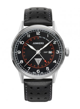 Junkers G38 Quartz watch GMT 2nd time zone 42mm steel case Black dial 6946-2