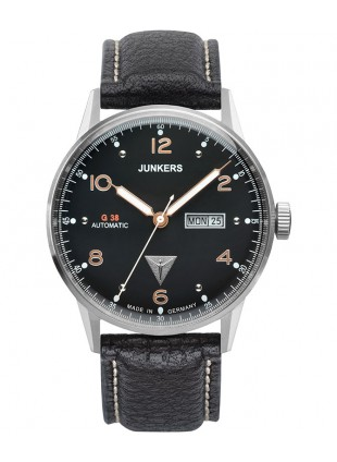 Junkers G38 Auto watch Exhibition back Day/Date 10ATM 42mm Black dial 6966-5