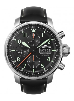 Fortis FLIEGER PROFESSIONAL CHRONO Swiss Auto watch Day/Date Black strap 705.21.11 L01