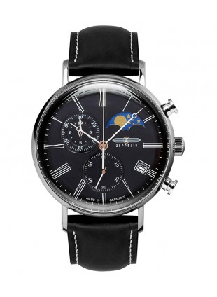 Zeppelin LZ120 Rome Swiss Quartz Chrono Watch 41mm Moonphase Black Dial 7194-2