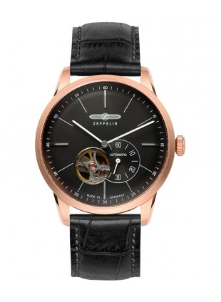 Zeppelin Flatline auto watch Open heart Rose Gold 40mm case Black dial 7362-2