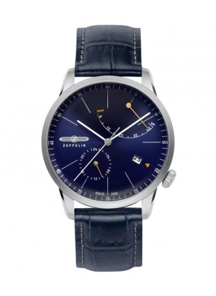 ZEPPELIN Flatline Mens watch Automatic Power Reserve 40mm case Blue dial 7366-3