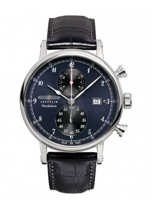 ZEPPELIN Nordstern Swiss Quartz Chrono Watch German made Blu/Blk Dial 7578-3