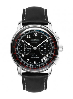 Zeppelin LZ126 Los Angeles Chrono Watch SS 42mm case Tachymeter Blk Dial 7614-2