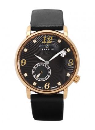 ZEPPELIN LUNA Ladies watch Swiss Quartz Swarovski R/Gold case Black dial 7633-2