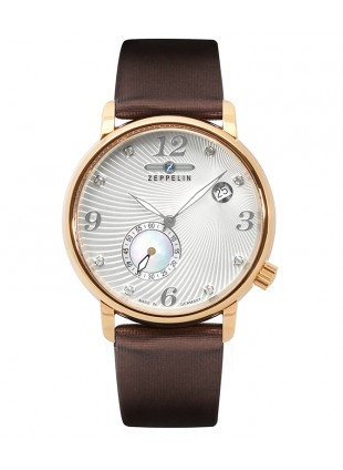 ZEPPELIN LUNA Ladies watch Swiss Quartz Swarovski R/Gold case Silver dial 7633-5