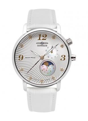 ZEPPELIN LUNA Ladies watch Swiss Quartz Swarovski Moon Phase Silver dial 7637-1