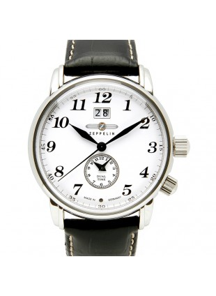 ZEPPELIN LZ127 COUNT 7644-1 QUARTZ WATCH with SWISS RONDA MOVEMENT 50M WR WHITE DIAL