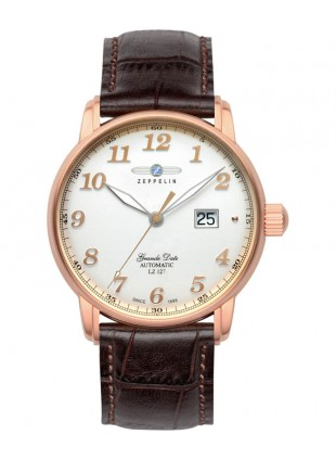 Zeppelin 7652-5 LZ127 Count Zeppelin Watch white dial with gold colored digits / markers 7652-5