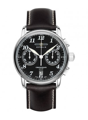 Count Zeppelin LZ127 Quartz chronograph watch 42mm case Black Dial 10ATM 7678-2