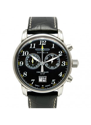 ZEPPELIN LZ127 COUNT 7686-2 QUARTZ WATCH with SWISS RONDA MOVEMENT 50M WR BLACK DIAL