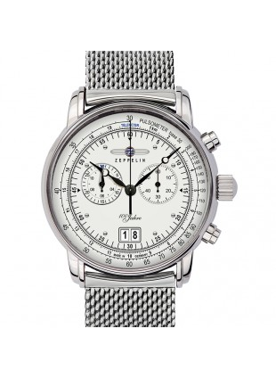 ZEPPELIN 100 YEARS 7690M-1 QUARTZ WATCH with SWISS RONDA MOVEMENT 50M WR SILVER DIAL