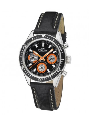 FORTIS MARINEMASTER VINTAGE BLACK/ORANGE LEATHERSTRAP BLACK