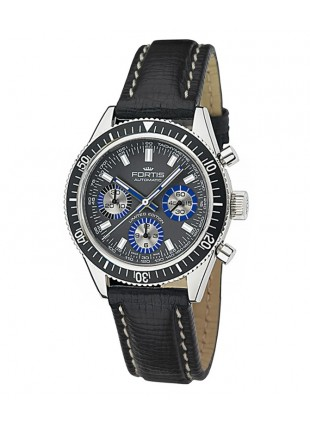 FORTIS B-42 FLIEGER CHRONOGRAPH AUTO WR 200M BLACK LEATHER STRAP 635.10.12 L.01 Side