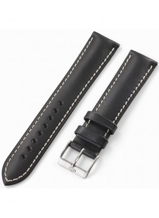 FORTIS Leatherstrap Vintage black with pin buckle brushed 99.112.01.010