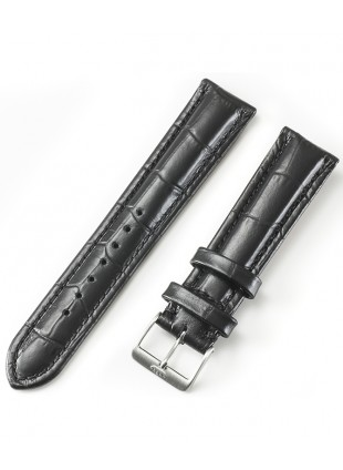 FORTIS Imitation Alligator Strap Black with brushed Pin buckle 99.598.0140.010
