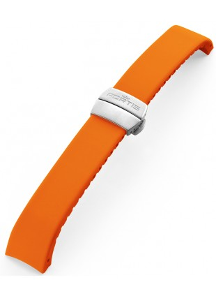 FORTIS B-42 Silicone bracelet orange with folding clasp 99.99.20 Si