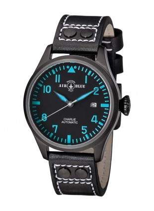 Air Blue CHARLIE AUTO Black PVD watch 44mm case Sapphire 10ATM Black/Blue dial