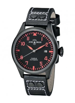 Air Blue CHARLIE AUTO watch Black PVD 44mm case Sapphire 10ATM Black/Red dial