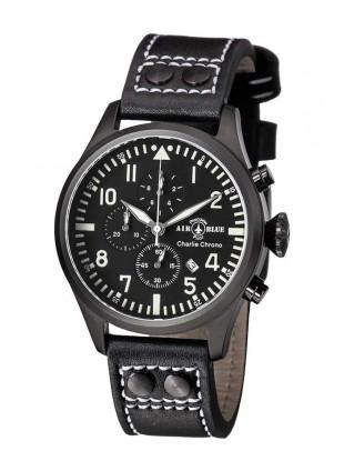 Air Blue CHARLIE CHRONO watch Black PVD 44mm case Sapphire 10ATM Black/White dial