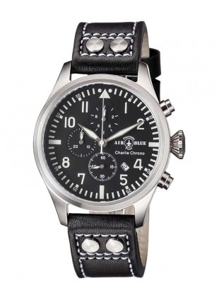 Air Blue CHARLIE CHRONO watch S/Steel 44mm case Sapphire 10ATM Black/White dial