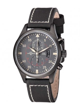 Air Blue DELTA CHRONO watch Black PVD 44mm case 10ATM Sapphire Crystal Grey dial