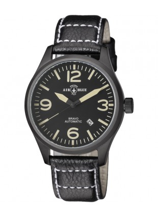 Air Blue BRAVO AUTO Pilots watch Date 44mm PVD case Sapphire Glass Blk/Tan dial