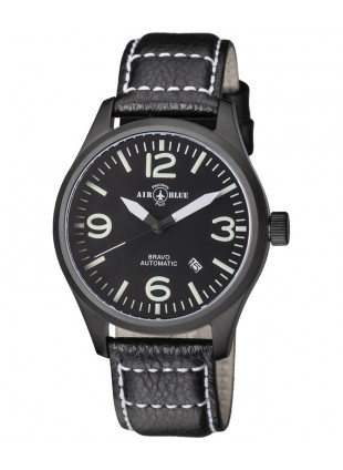 Air Blue BRAVO AUTO Pilots watch Date 44mm PVD case Sapphire Crystal Black dial