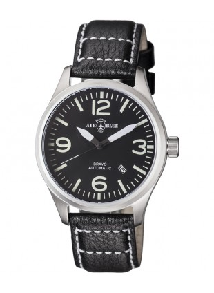Air Blue BRAVO AUTO Pilots watch Date 44mm S/S case Sapphire Crystal Black dial
