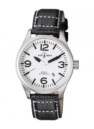 Air Blue BRAVO AUTO Pilots watch Date 44mm S/S case Sapphire Crystal White dial