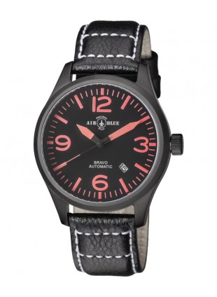 Air Blue BRAVO AUTO Pilots watch Date 44mm PVD case Sapphire Glass Blk/Red dial