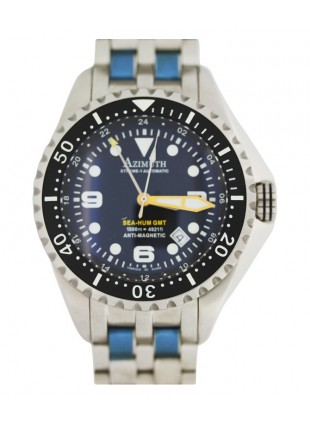 AZIMUTH XTREME-1 SEA-HUM GMT DIVING WATCH 1500m/4921ft WR S/S BRACELET BLACK